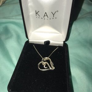 Kay jewelers silver open heart necklace
